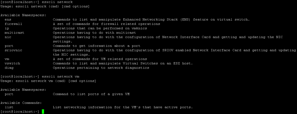 Viewing the ESXi shell commands for the ESXCLi network namespace