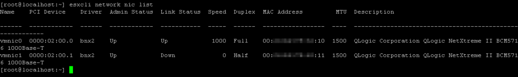 Viewing the list of network adapters installed in an ESXi server
