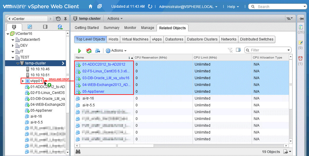 Adding VMs to the VMware vApp.