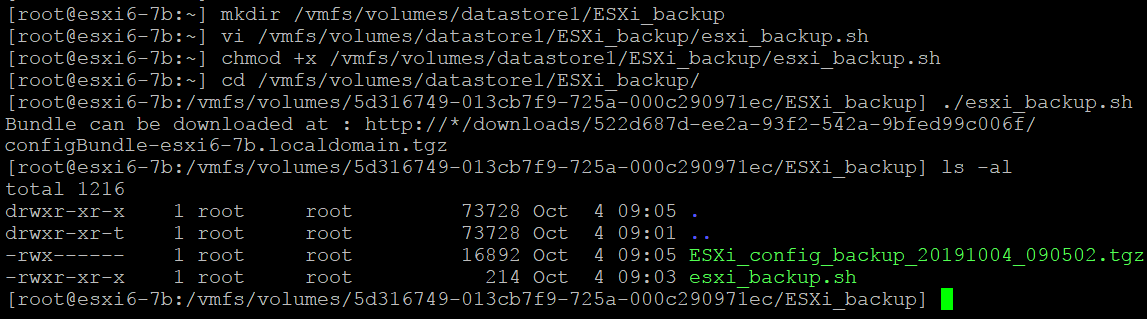 Backup ESXi host – a backup file is created