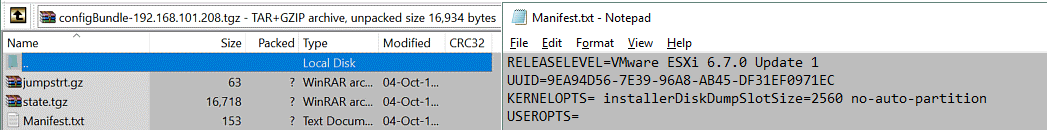 Backup ESXi host - the ESXi UUID is stored in the Manifest.txt file inside the configBundle.tgz file