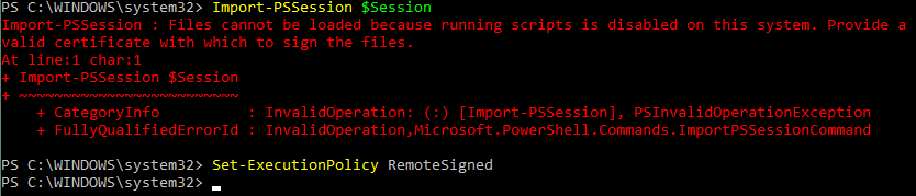 Change the execution policy before you connect to Exchange Online PowerShell