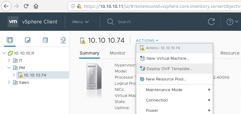 Deploying the OVF template on an ESXi host to finish the VMware P2V Linux conversion
