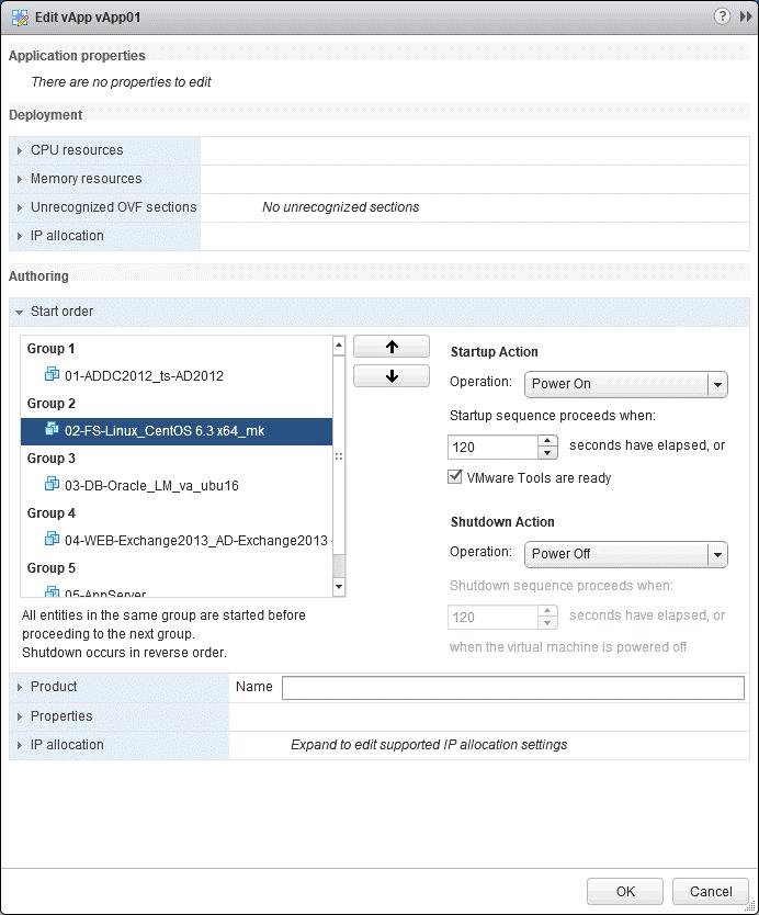 Editing the VM startup order for the VMware vApp.