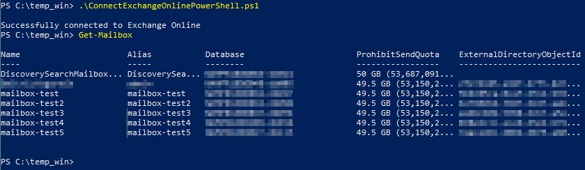 Exchange Online PowerShell is now connected – checking mailboxes