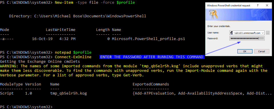 PowerShell connect to Exchange Online