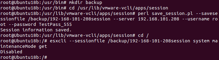 Running commands in vSPhere CLI by using a session file