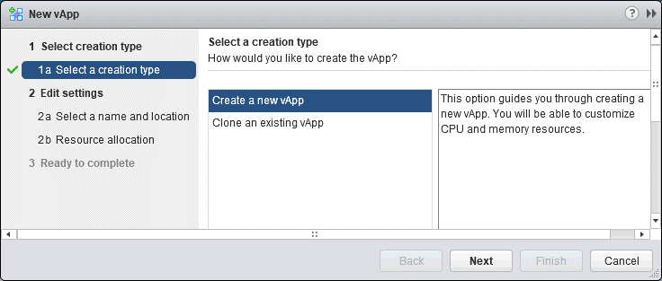 Selecting a creation type for a new VMware vApp.