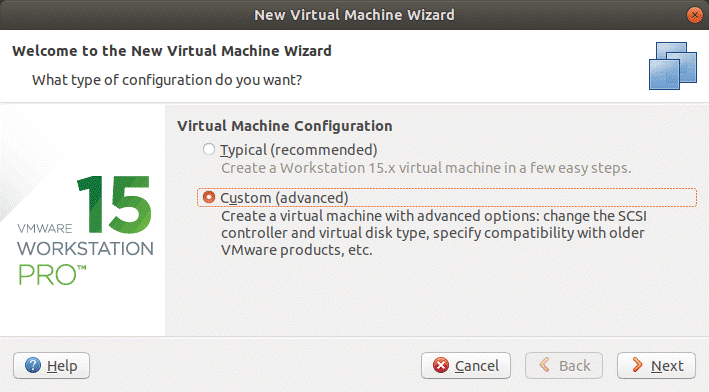 Selecting a custom mode to create a VM for VMware P2V Linux conversion