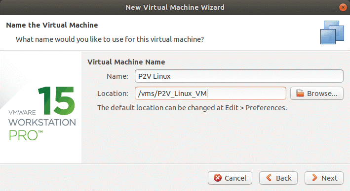 Selecting location for a new P2V Linux VM