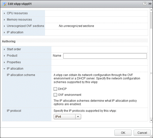 Selecting the IP allocation scheme for VMware vApp