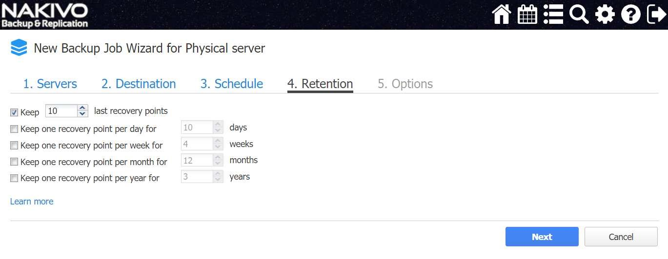 Set up a retention policy (Windows Server 2016 Essentials vs Standard)