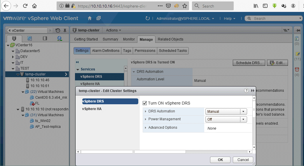 Turning on vSphere DRS in the VMware cluster before deploying VMware vApp.