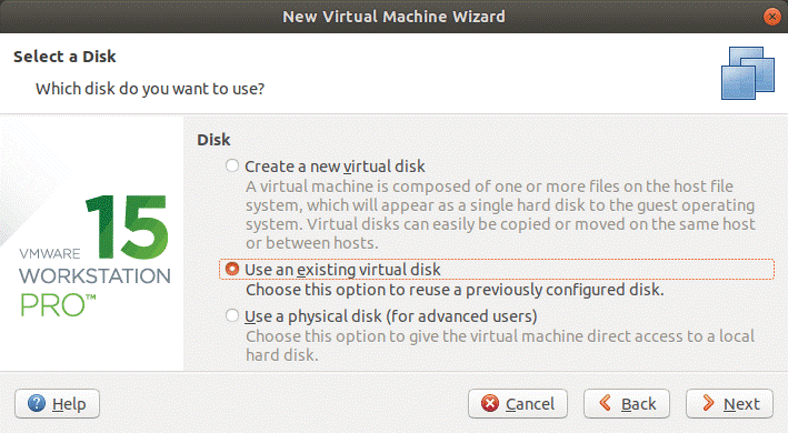 Using an existing virtual disk created after converting a physical disk to a virtual disk