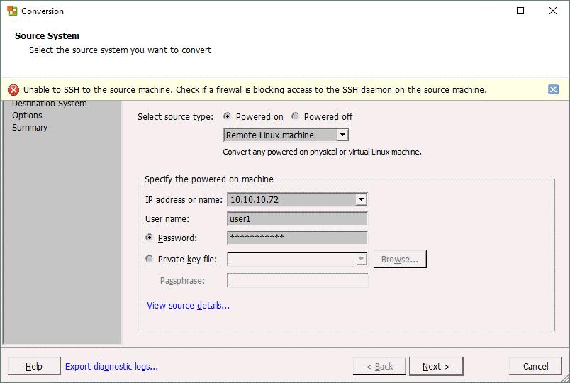 VMware converter Linux P2V conversion