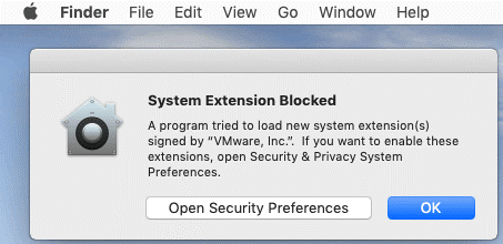 A system extension is blocked when you install VMware Tools on macOS