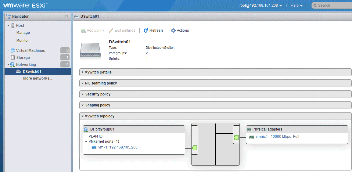 A virtual switch is created on ESXi hosts after configuring a distributed virtual switch