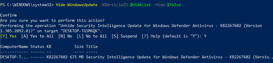 Changing the status of Windows update (automate Windows updates)