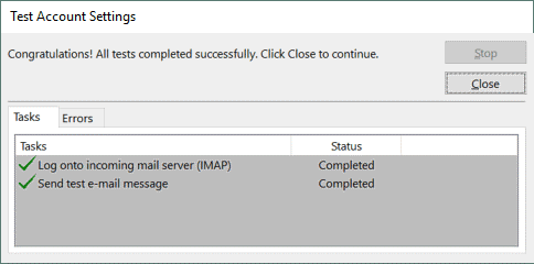 Checking Office 365 SMTP settings and IMAP settings to send and receive emails