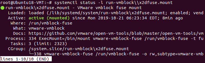 Checking the status of the VMware vmblock fuse mount service