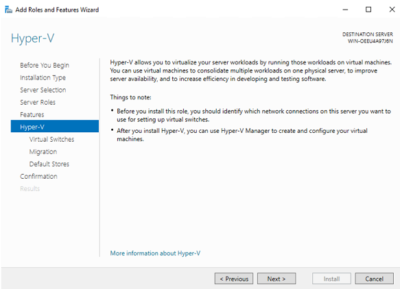 Configuring Hyper-V (How to Install Hyper-V on Windows Server 2019)