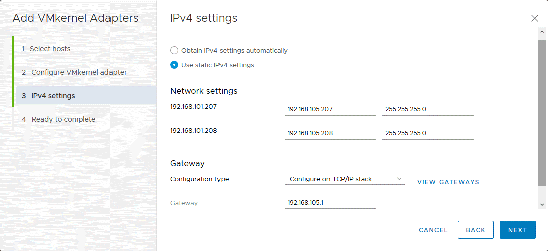 Configuring IP v4 settings for VMkernel adapters connected to distributed virtual switch