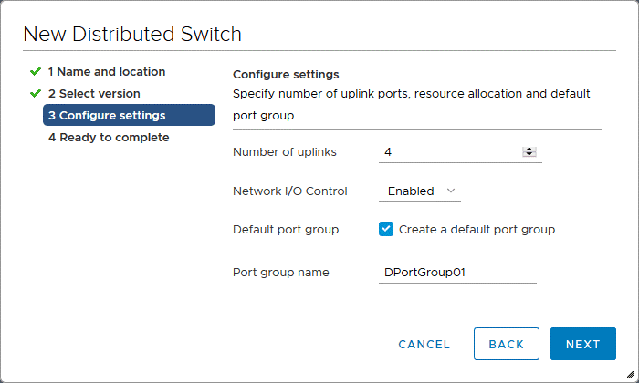 Configuring settings for a new distributed virtual switch