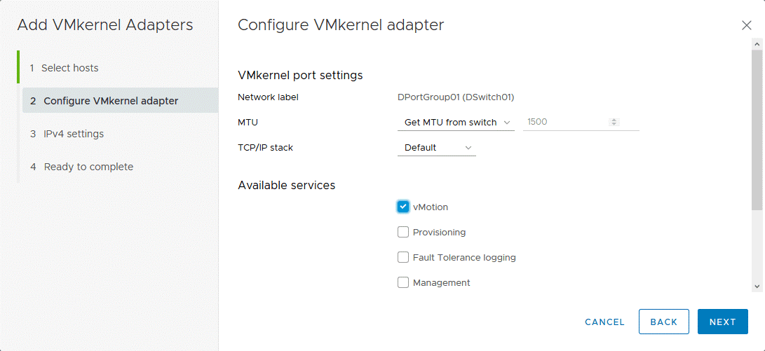Configuring the VMkernel adapter and selecting available services