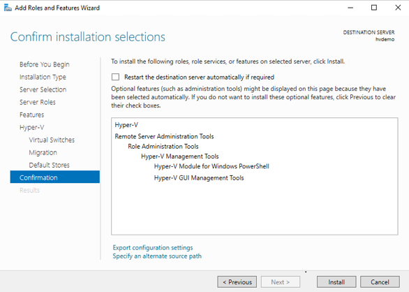 Confirmation (How to Install Hyper-V on Windows Server 2019)