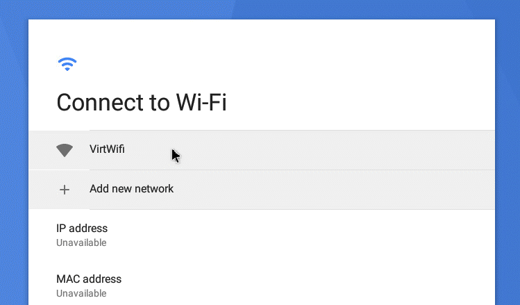 Connecting to the virtual Wi-Fi network