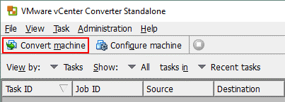 Converting a machine in VMware Converter