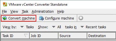 Converting a machine in VMware Converter