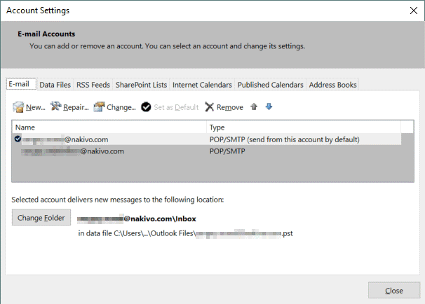 Creating a new account in Outlook 2016 to enter Office 365 SMTP settings in the email client