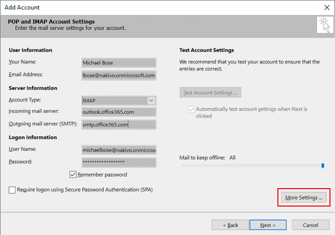Entering Office 365 SMTP settings in the account settings of Exchange 2016
