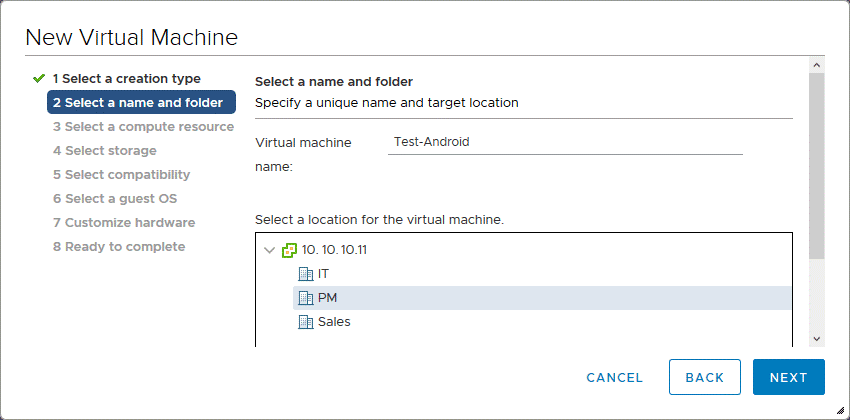 Entering a name of a VM to install Android on VMware