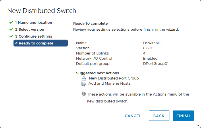 Finishing creating a new distributed virtual switch in VMware vSphere