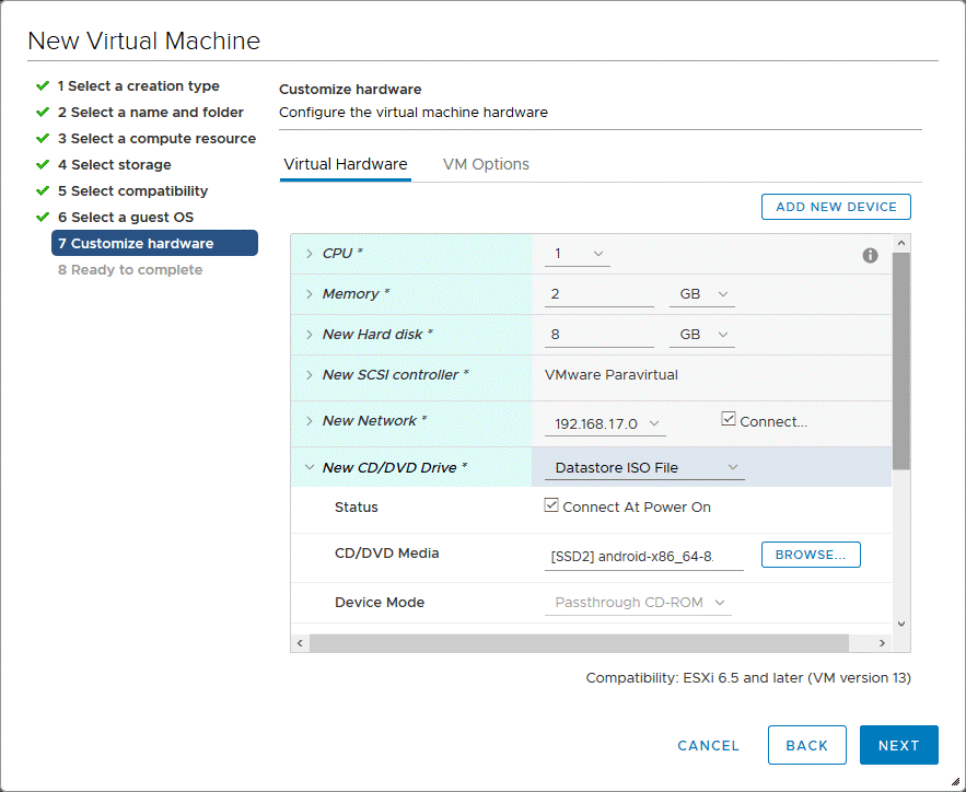 Hardware customization for the new Android VMware VM