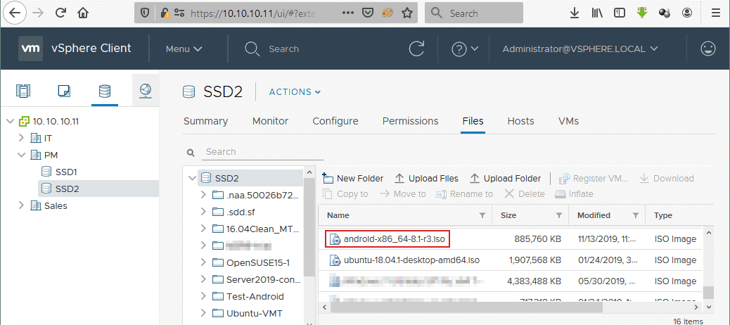 How to install Android on VMware – uploading the ISO image on an ESXi datastore