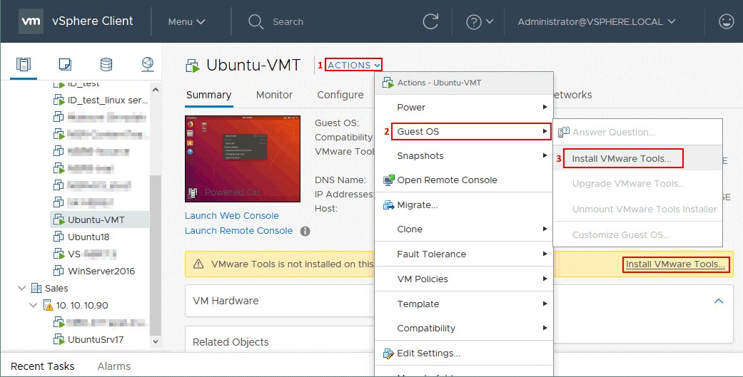 How to install VMware Tools on a Linux VM running on ESXi.