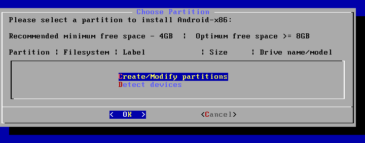 Install Android on VMware – creating a new partition