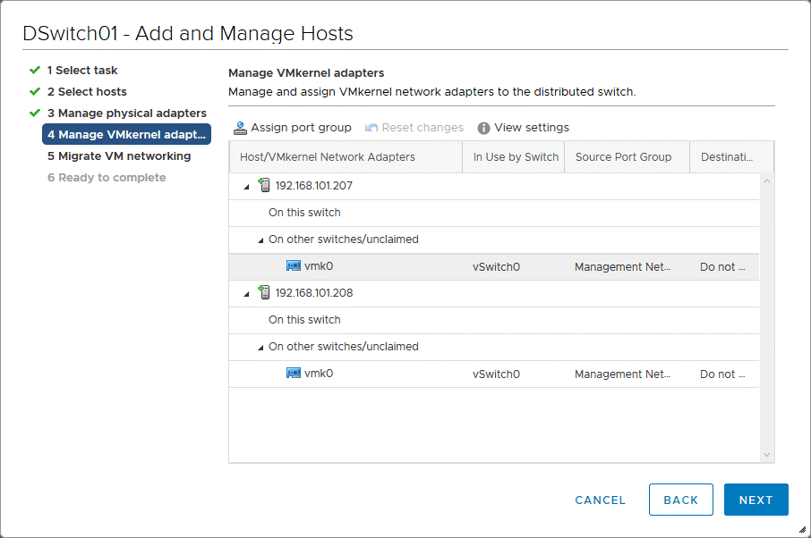 Managing VMkernel adapters when adding ESXi hosts to the distributed virtual switch configuration
