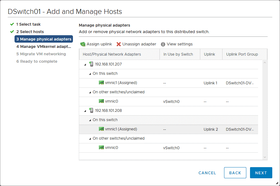 Managing physical network adapters when adding ESXi hosts to the VMware distributed switch configuration