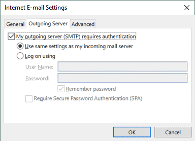 Office 365 SMTP settings – enable authentication for the SMTP server in the settings of Outlook 2016