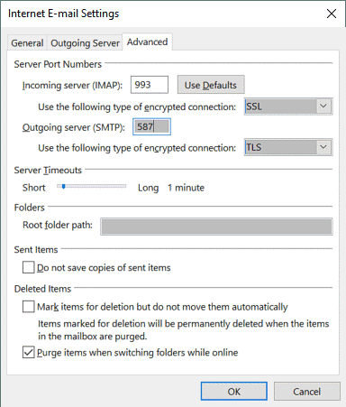 Office 365 SMTP settings – encryption must be enabled