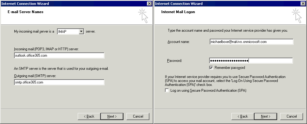 Office 365 SMTP settings are entered in the account settings of Outlook Express
