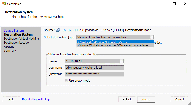 P2V VMware Converter_selecting the destination system