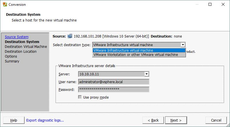 P2V VMware Converter_selecting the destination system