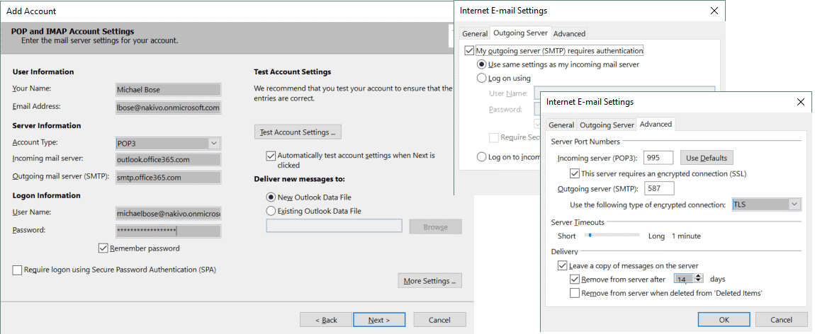 POP3 settings for using Office 365 Exchange email in Outlook 2016
