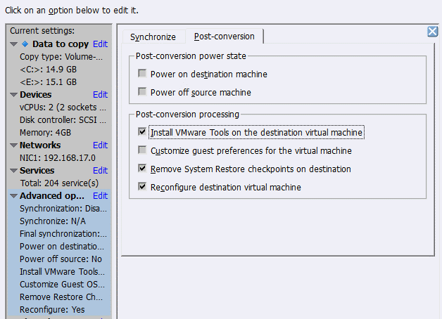 Post-conversion processing options in VMware Converter