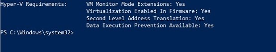 Running the systeminfo.exe command (How to Install Hyper-V on Windows Server 2019